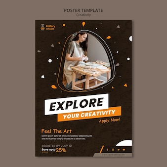 Vertical poster template for pottery workshop