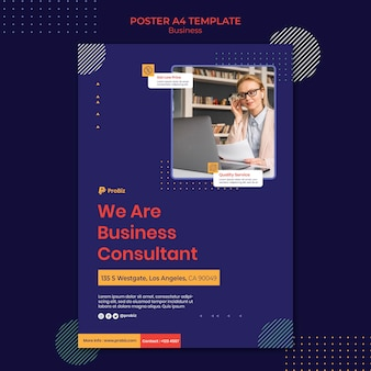 Vertical poster template for professional business solutions