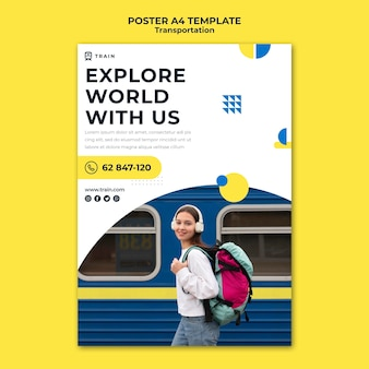 Vertical poster template for public transportation by train with woman