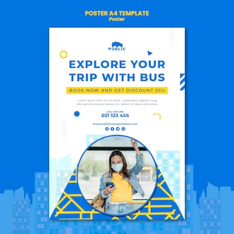 Vertical poster template for public transportation with female commuter