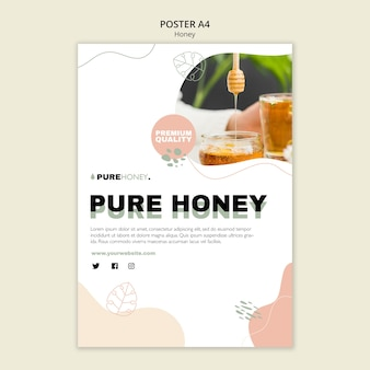 Vertical poster template for pure honey