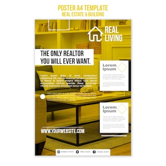 Vertical poster template for real estate and building