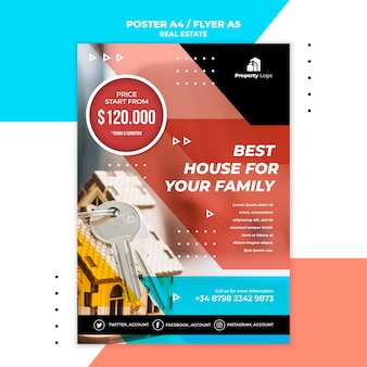 Vertical poster template for real estate company