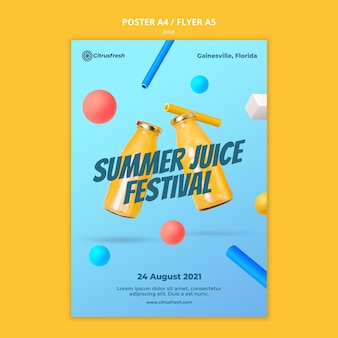 Vertical poster template for refreshing orange juice in glass bottles