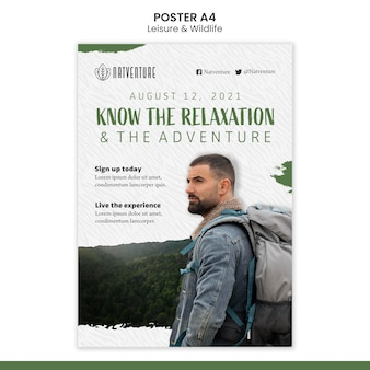 Vertical poster template for relaxation and adventure