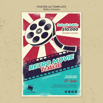 Vertical poster template for retro cinema