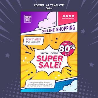 Modello di poster verticale per le vendite in stile fumetto