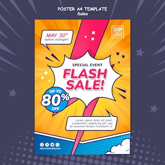 Vertical poster template for sales in comic style