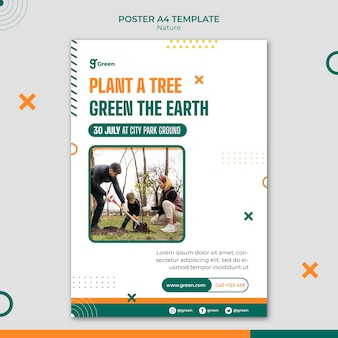 Vertical poster template for saving nature