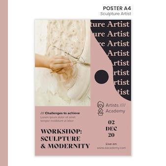 Modello di poster verticale per laboratorio di scultura