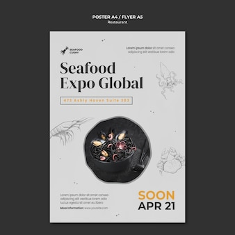 Vertical poster template for seafood restaurant with mussels and noodles