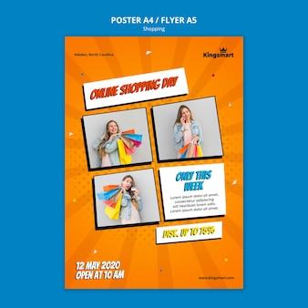 Modello di poster verticale per lo shopping con la donna che tiene le borse della spesa