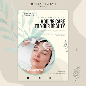 Vertical poster template for skincare and beauty with woman
