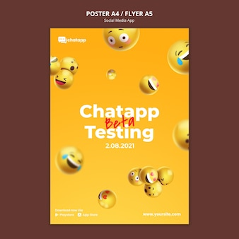 Vertical poster template for social media chatting app with emojis