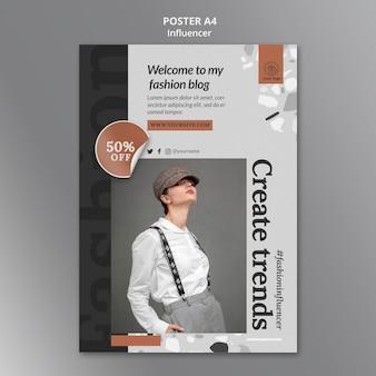Vertical poster template for social media female influencer
