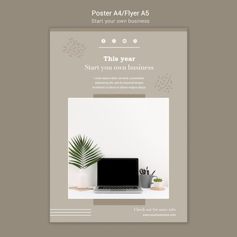 Vertical poster template for starting own business