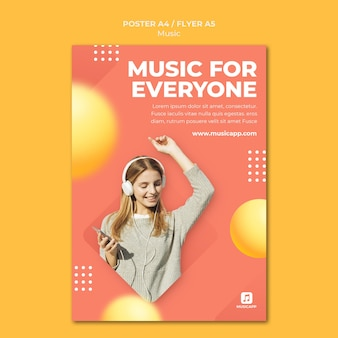 Vertical poster template for streaming music online with woman wearing headphones