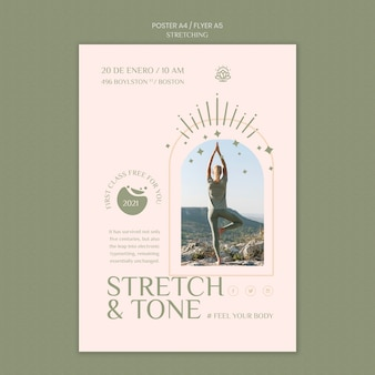 Vertical poster template for stretching course
