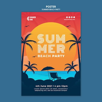 Modello di poster verticale per festa in spiaggia estiva