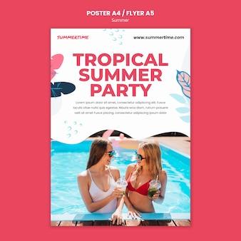 Modello di poster verticale per il divertimento estivo in piscina