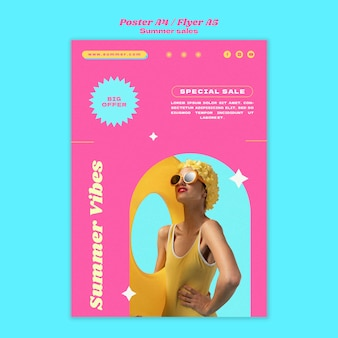 Vertical poster template for summer sale