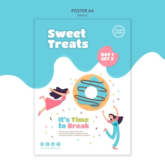 Vertical poster template for sweet baked donuts