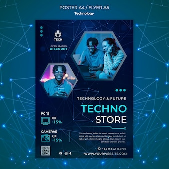 Vertical poster template for techno store