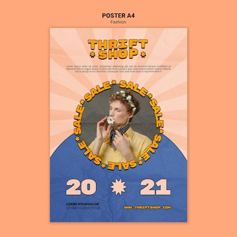 Vertical poster template for thrift shop fashion sale