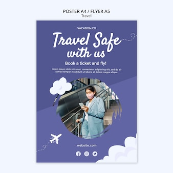 Vertical poster template for travel with woman wearing face mask