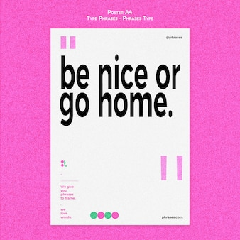 Vertical poster template for type phrases
