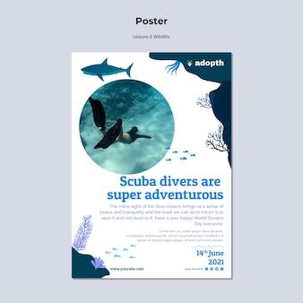 Modello di poster verticale per immersioni subacquee