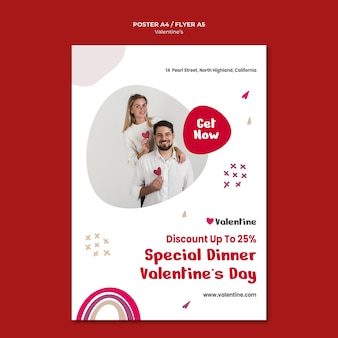 Vertical poster template for valentine's day with couple
