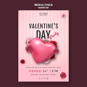 Vertical poster template for valentine's day with heart and red roses