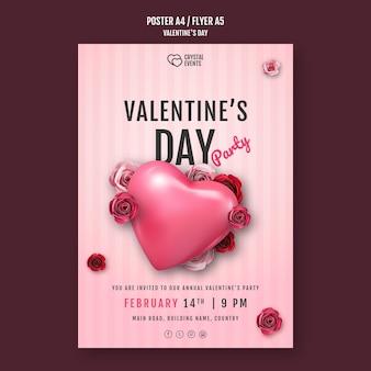 Modello di poster verticale per san valentino con cuore e rose rosse