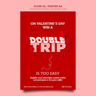 Vertical poster template for valentine's day with hearts