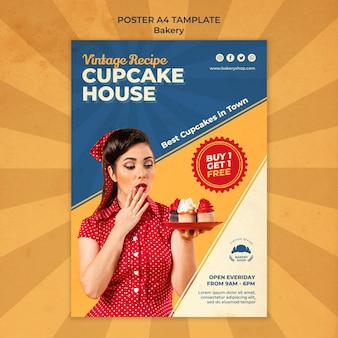 Vertical poster template for vintage bakery shop with woman