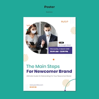 Vertical poster template for webinar and business startup