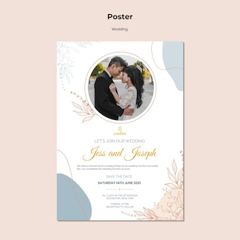 Vertical poster template for wedding ceremony with bride and groom
