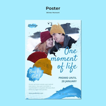 Vertical poster template for winter couple moments