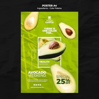 아보카도와 세로 포스터 템플릿 무료 PSD 파일