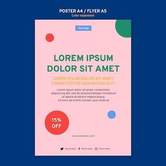 Modello di poster verticale con colori vivaci