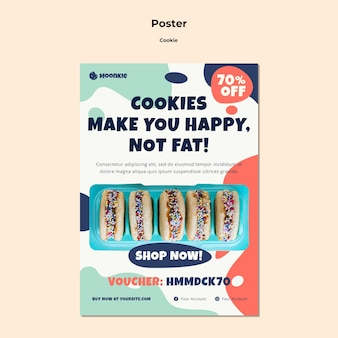 Vertical poster template with cookies