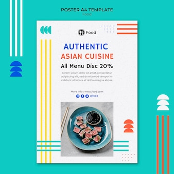 아시아 요리의 수직 포스터 템플릿
