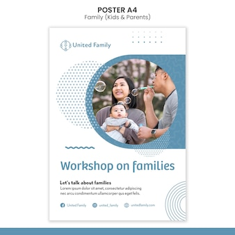 Vertical poster template with family and children