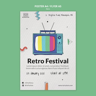 Vertical poster template with retro items