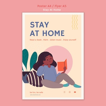 Vertical poster template with stay at home during pandemic