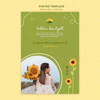 Vertical poster template with sunflowers and woman