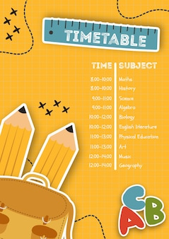 Vertical poster template with timetable
