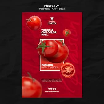 Вертикальный шаблон плаката с помидорами
