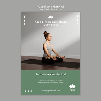 Vertical poster template with woman practicing yoga